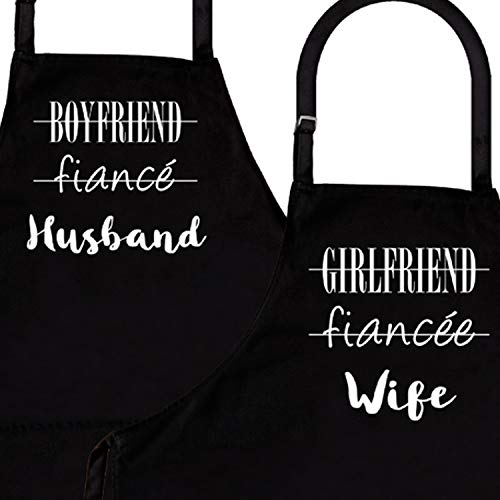 - Husband & Wife | 2-Piece Kitchen Apron Set | Matching Engagement Wedding Anniversary Bridal Shower Gift for Bride | Wedding Gifts for The Couple Unique | Newly Married Presents