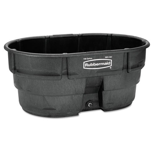 Rubbermaid Commercial Structural Foam Livestock Tank, 150 gal, Oval, Black - Includes one each.