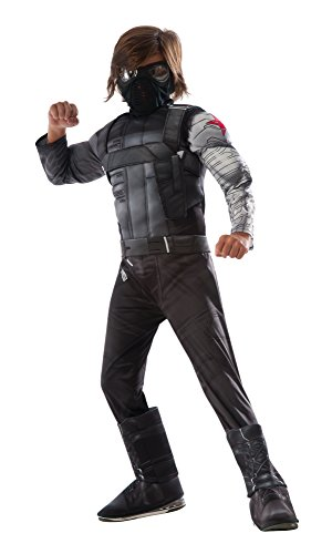 [Rubie's Captain America: Civil War Winter Soldier Deluxe Muscle Chest Child, M] (Black Panther Costume Marvel)