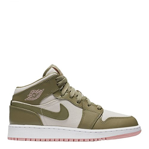 NIKE Jordan Retro 1 Mid Trooper/Bleached Coral (Big Kid) (7 M US Big Kid) by NIKE