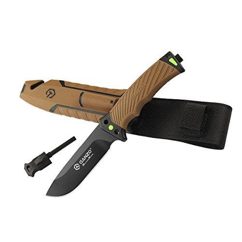 Ganzo Fixed Blade Tactical Knife G803-DY w/Firestarter & Sharpener (Sandy)