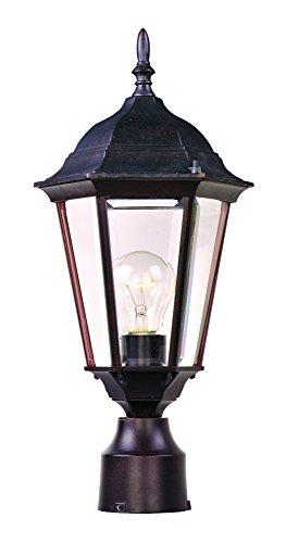Maxim Lighting 1001EB One Light Glass Post Light, Empire Bronze