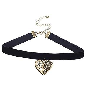 Lux Accessories Black Velvet Burnished Gold Tone Steampunk Gear Heart Choker