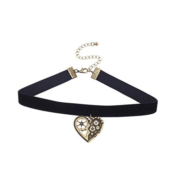 Lux Accessories Black Velvet Burnished Gold Tone Steampunk Gear Heart Choker 3