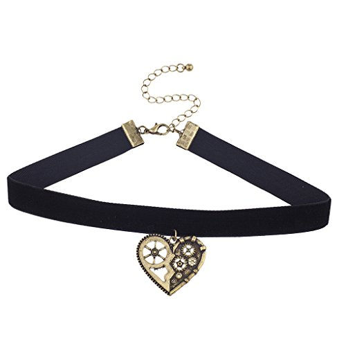 Lux Accessories Black Velvet Burnished Gold Tone Steampunk Gear Heart Choker