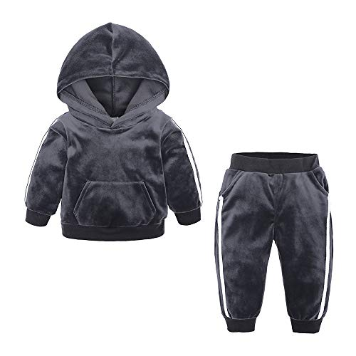 Kids Tales Boys Girls 2Pcs Velvet Hooded Tracksuit Top + Sweatpants Outfits Set(12M-8T) Grey
