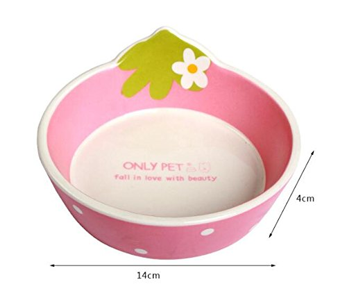 Pet bowls ceramic bowl Teddy VIP and other small pet earthenware glaze color tableware (pink)