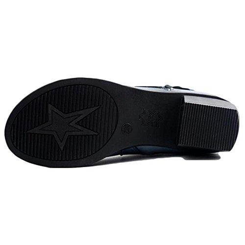 Hand 39 Genuine Made Style Short Ethnic NSXZ Boots Women's BLACK Leather UwFq6p5