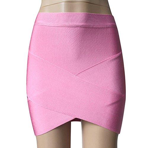 laamei 1pc Femme Mini Sexy Jupe Moulante Courte Irrgulier Crois Bodycon Package Hanche Taille Haute Rose
