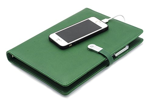 Green Padfolio (A5 Portfolio Padfolio Leather Notebook Journal Business Planner Hardcover Notepad ,Refillable Thick Paper with  Flash Drive,Built-in Charger for Iphone & Android,Army Green)