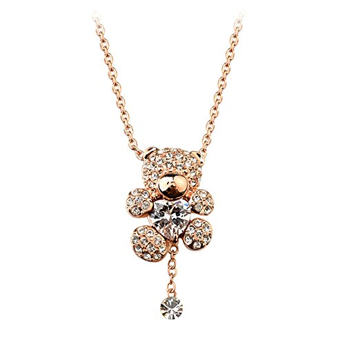 Gift for Girls Gold Plated Animal Cute Teddy Bear Pendant Necklace with Clear Heart Shaped Swarovski Elements Crystal Fashion Jewelry (Gold Plated Teddy Bear Necklace)