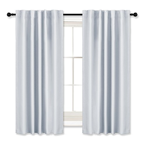 RYB HOME Curtains Drapes Thermal Insulated Panels (42'' x 45'', Grayish White, Double Pieces) Back Tab & Rod Pocket Used with Curtain Rod/Hooks Blackout Curtains for Living Room Window Dressing by RYB HOME (Image #10)