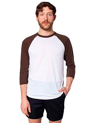 (American Apparel Men 50/50 Raglan 3/4 Sleeve T-Shirt Size M White / Brown )