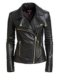 New Women Genuine Real Leather Jacket Ladies Slim Fit Biker Coat XW619