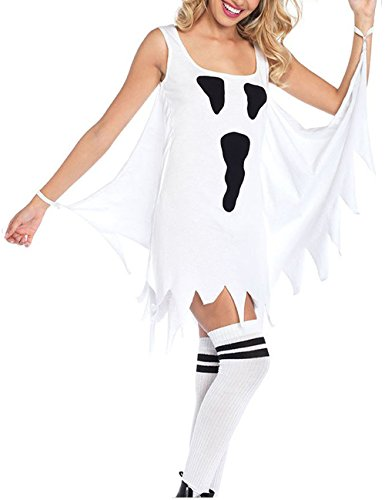 Sexy Hallowen Costumes - PJTOP Women's Sexy Hallowen Cosplay Ghost Printed Sleeveless Costumes T-Shirt Club Dress White S