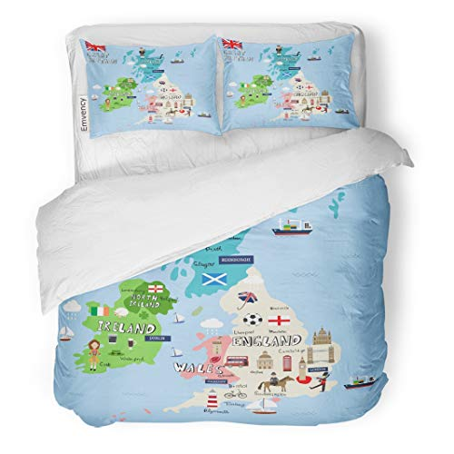 Emvency Decor Duvet Cover Set King Size Liverpool Great Britain Map Graphic Info British Manchester Town Travel 3 Piece Brushed Microfiber Fabric Print Bedding Set -