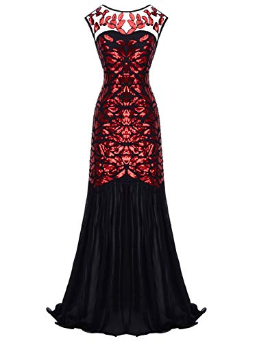 (FAIRY COUPLE Women 's V Back 1920s Art Deco Sequin Gatsby Flapper Party Homecoming Prom Dress L Black Red)