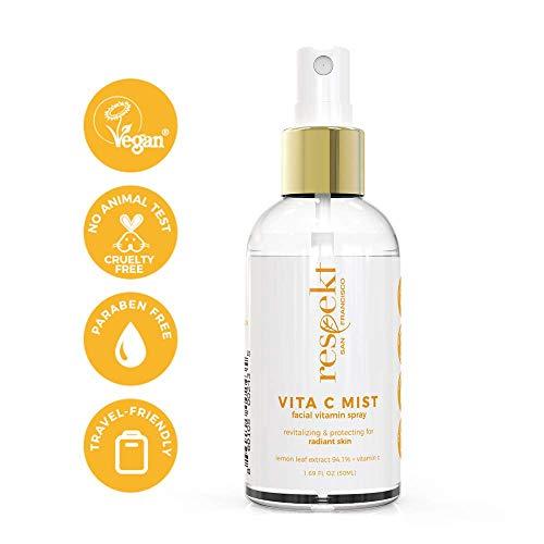 VITA C MIST: Organic Facial Toner Spray & Makeup Fixer | 94.1% Lemon Leaf Extract + Vitamin C, Vegan, Cruelty Free, Paraben free. 50ml (Vitamin C + Lemon Leaf) ()