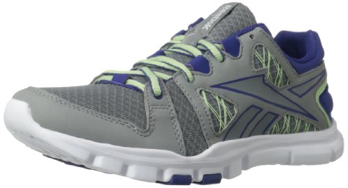 Reebok Women's Yourflex Trainette RS 4.0 Cross-Training Shoe,Flat Grey/Violet Volt/Sea Glass/White,6.5 M US