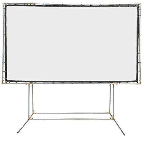 Carl's FlexiWhite Standing Projector Screen Kit (16:9 | 9x16-Ft | 214-in) Outdoor Projection Screen, HD, 3D, 1.1 Gain, Dark/Controlled Ambient Light, Outdoor Movie Screen, Stand Poles NOT ()