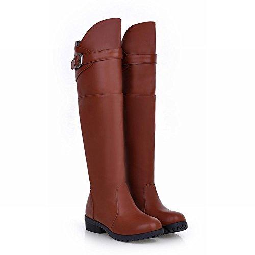 Latasa Womens Fashion Chunky Heel Buckle Strap Knee-high Jodhpur Boots, Riding Boots Brown