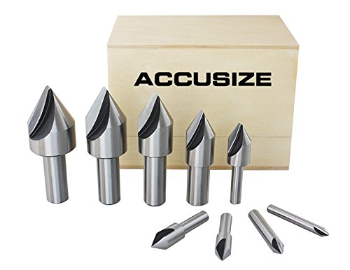 AccusizeTools - 9 Pcs Single Flute HSS Countersink Set, 60 degree, Ground, #0245-0021 by Accusize Industrial Tools