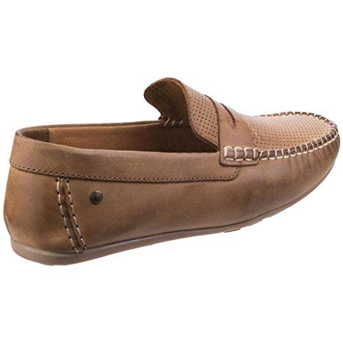 Base London Attwood, Mens Brown Mocasín de Cuero, Antideslizante Zapatos Mocasín Tan