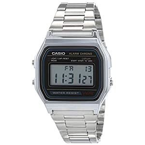 Casio A158WA – Reloj unisexo, correa de acero inoxidable color plateado 41QXV3KL6rL