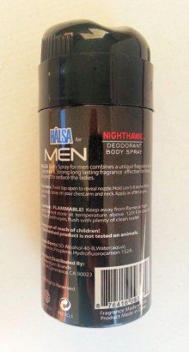 Halsa MEN NIGHTHAWK Deodorant Body Spray Anti Odor (2 Cans) 3 Oz... mtc
