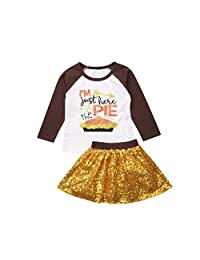 One Persent Thanksgiving Outfits Toddler Baby Girls Long Sleeve T Shirt Gold Sequins Skirt Clothes Set