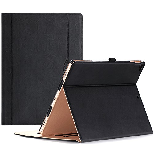 ProCase iPad Pro 12.9 2017/2015 Case - Stand Folio Case Cover for Apple iPad Pro 12.9 Inch (Both 2017 and 2015 Models), with Multiple Viewing Angles, Apple Pencil Holder -Black