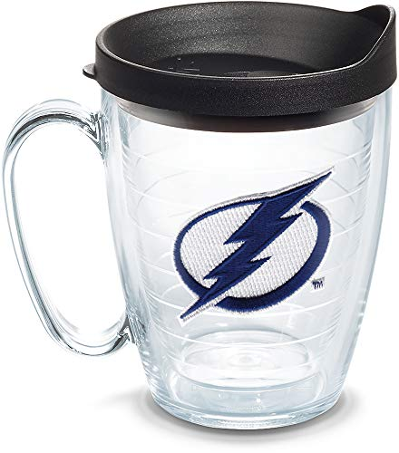 (Tervis 1057968 NHL Tampa Bay Lightning Primary Logo Insulated Tumbler with Emblem and Black Lid, 16oz Mug, Clear)