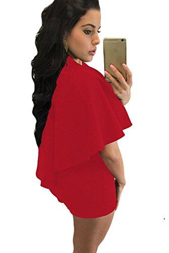 New Frau Rot Ausschnitt Cape Strampler Spielanzug Club Wear Festival Wear Größe M UK 10�?2EU 38�?0