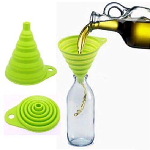 LiPing Flexible Silicone Collapsible Funnel Set, Small Foldable, Flexible Kitchen Funnel for Liquid/Powder Transfer (Color-random)