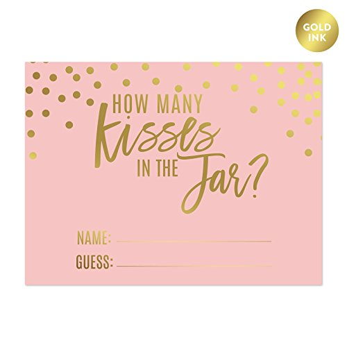 Andaz Press Blush Pink and Metallic Gold Confetti Polka Dots Bachelorette Party Bridal Shower Collection, How Many Kisses are in the Jar Game Cards, - Rate Days Many Shipping How For Flat