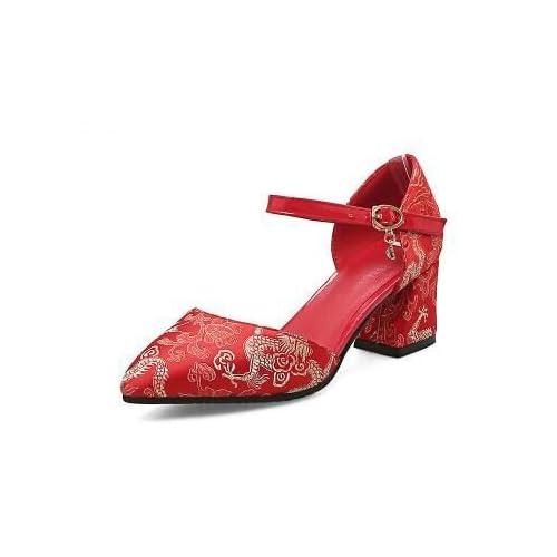 Lovely VIVIOO Tacón Alto Los Zapatos De La Boda Al Estilo De Las Mujeres  Zapatos De Tacón Alto De Color Rojo Grueso Talón Los Zapatos De La  Demostración Del ... b64d060779b6