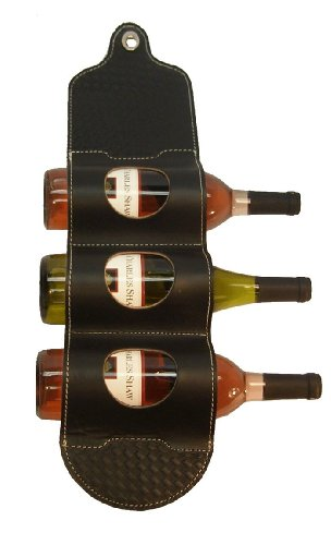 Wine Rack; Bandolier Leather Wine Wall Rack - WBWR-BLK by: Mint Leather