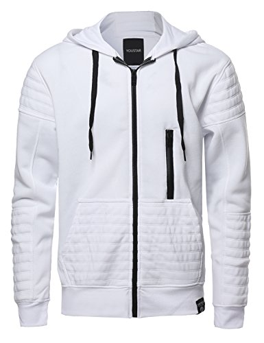 Youstar Mens Fashion Hoodie Jacket With Contrast Zipper and Ribbed Details