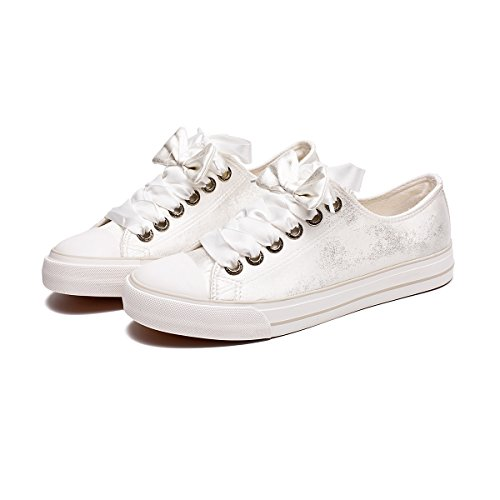 Pictures of ZGR Womens Fashion Canvas Sneaker Low Cut White4 8 M US 1