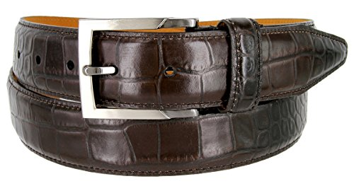 Calfskin Embossed Belt (Lejon Single Stitched Italian Calfskin Alligator Embossed Leather Dress Belt (Dark Brown,)