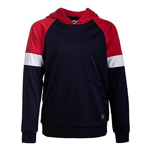 (Fila Boy's Fundamental Hoody, Navy, Chinese Red, White, M)
