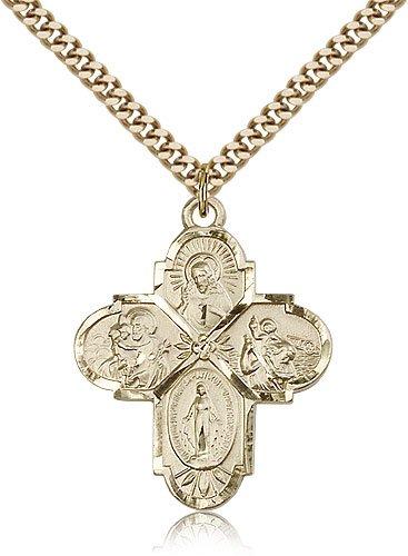 religiousobsession \'s Gold gefüllt 4-Wege-Anhänger – 61 cm Kette ...