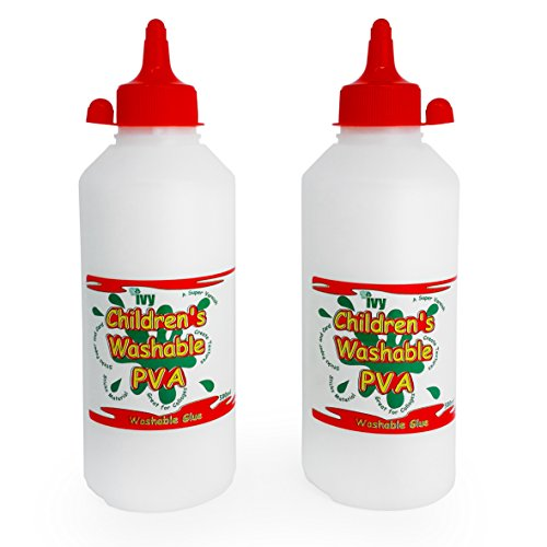 Ivy - Children's Washable PVA Craft Glue Twin-Pack - Made in UK - 2 x 500ml Bottles