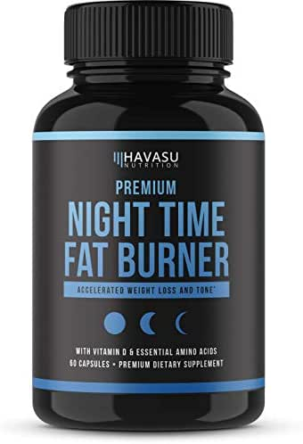 Havasu Nutrition Premium Night Time Weight Loss Pills with Vitamin D, Green Coffee Bean Extract, White Kidney Bean Extract, L-Tryptophan, Melatonin- Non Habit Forming PM Fat Burner, 60 Capsules
