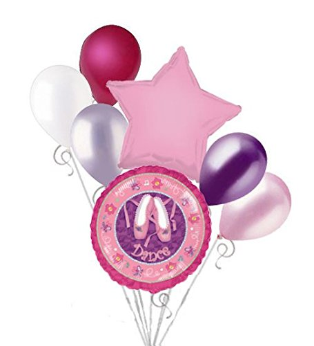 7 pc Ballerina Twinkle Toes Dance Balloon Bouquet Decoration Party Pink Birthday