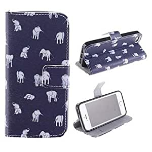 Mini - The Small Elephant That The Multiple Positions PU Full Body Case with Card Slot and Stand for iPhone 5/5S