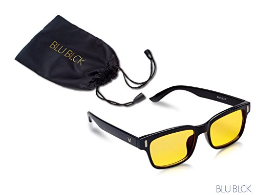 Blue-light Blocking Eye-wear glasses to improve sleep, helps with eyestrain from Cellphone/Computer LCD and LED, Anti Fatigue Blocking Headaches, Unisex Glasses (Black Frame) (Reading Glasses Wear)