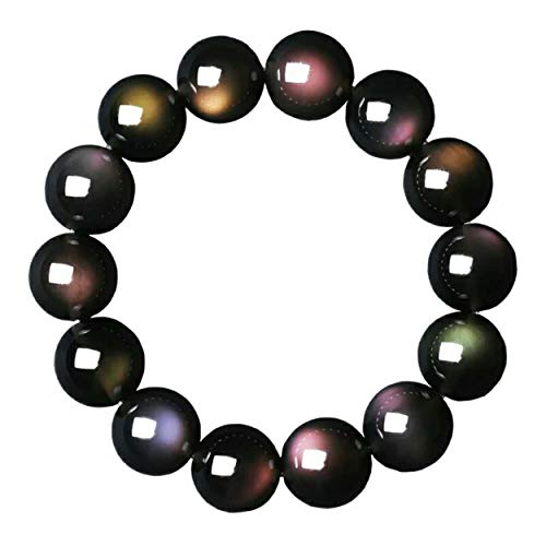 LiZiFang 14mm Natural Obsidian Rainbow Light Gemstone Crystal Round Bead Bracelet AAAA