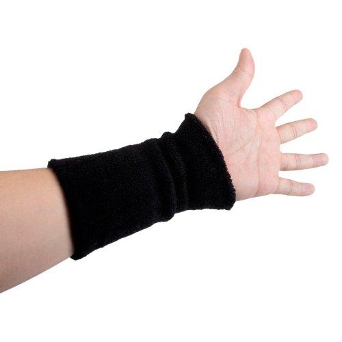 GOGO 6 Inch Long Thick Wrist Sweatband  - Black
