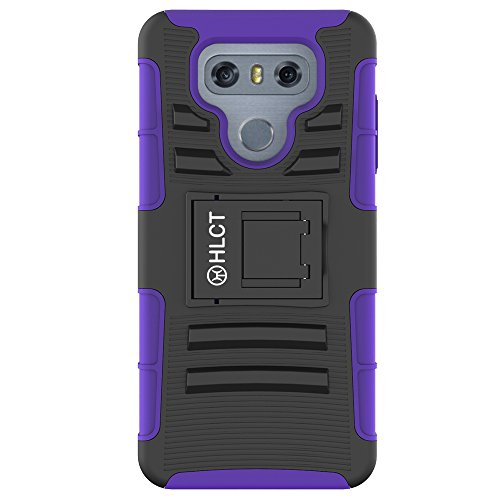 Price comparison product image LG G6 Case,  HLCT Rugged Shock Proof Dual-Layer PC and Inner TPU Case With Built-In Kickstand for LG G6 (2016) (Purple)